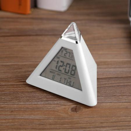 Qiilu Alarm Clock, Table Clock,LED Color Changing Digital LCD Alarm Clock Thermometer Night Light Desktop Table Clocks - image 7 of 7