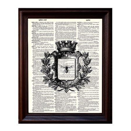 Queen Bee - Dictionary Art Print Printed On Authentic Vintage Dictionary Book Page - 8 x (Arc Queen Bed)