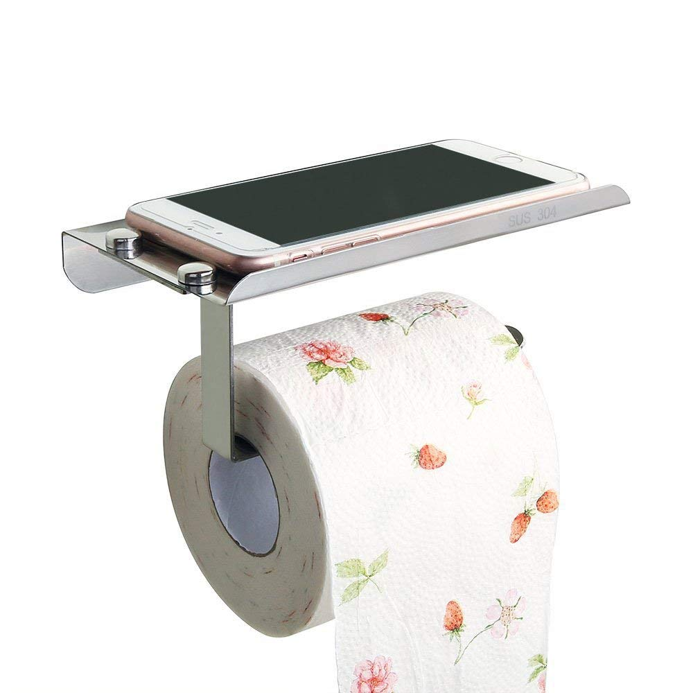 Toilet Paper Holder with Shelf Wall Mount SUS304 Stainless Steel Bathroom Tissue Towel Storage Rack by Nolonger