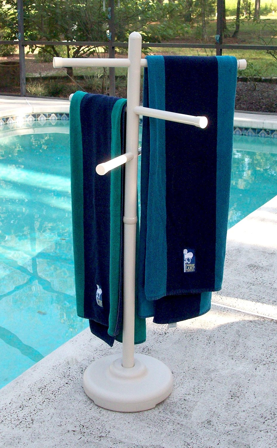 Outdoor Spa and Pool Towel Rack - White