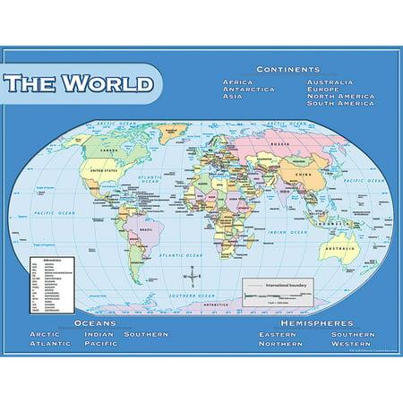 WORLD MAP CHART 17X22