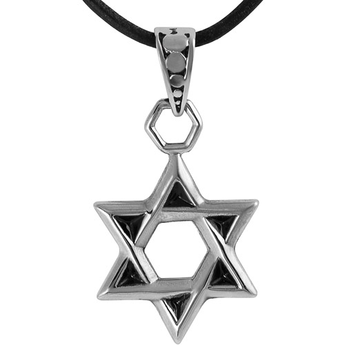 """Brinley Co. Stainless Steel Star of David Pendant, 18"""""""