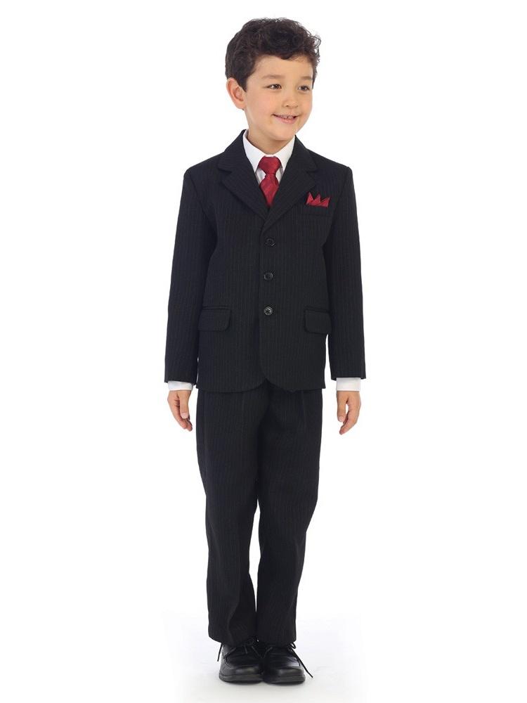 Angels Garment Boys Black Pinstripe Jacket Pants Vest Shirt Tie Suit