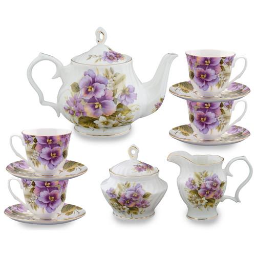 Grace's Tea Ware 11 Piece Bone China Pansy Tea Set by