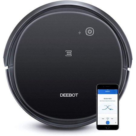Ecovacs DEEBOT 500 Robot Vacuum Cleaner with Max Power Suction, Up to 110 min Runtime, Hard Floors and Carpets, Pet Hair, App Controls, Self-Charging, Quiet, Large, Black (Renewed)
