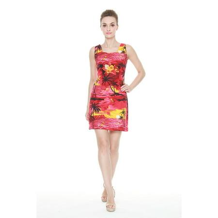 Women's Hawaiian Luau Tank Dress in Sunset Red Print](Luau Dress)