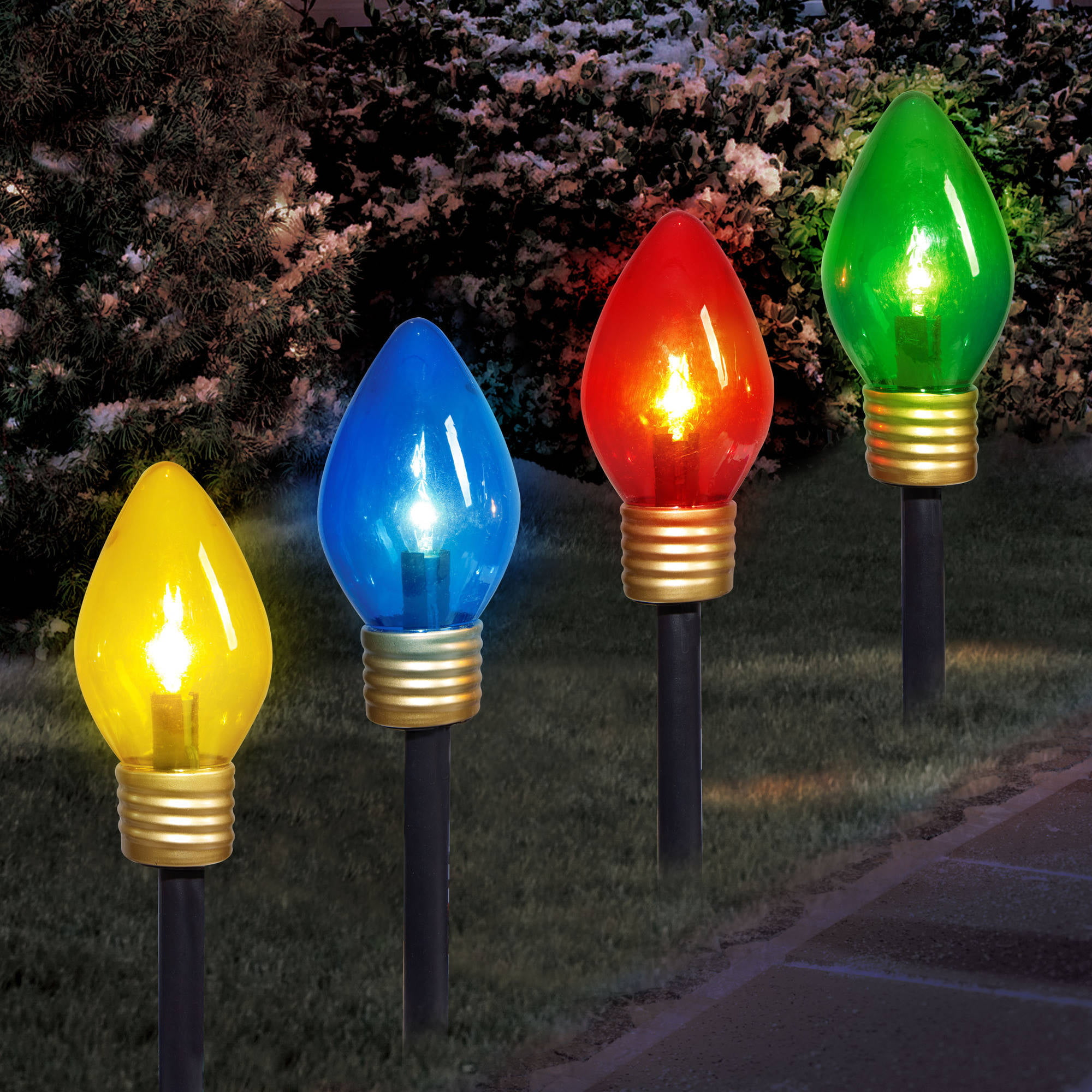 holiday time christmas lights jumbo c9 lighted lawn stake 4 piece set walmartcom