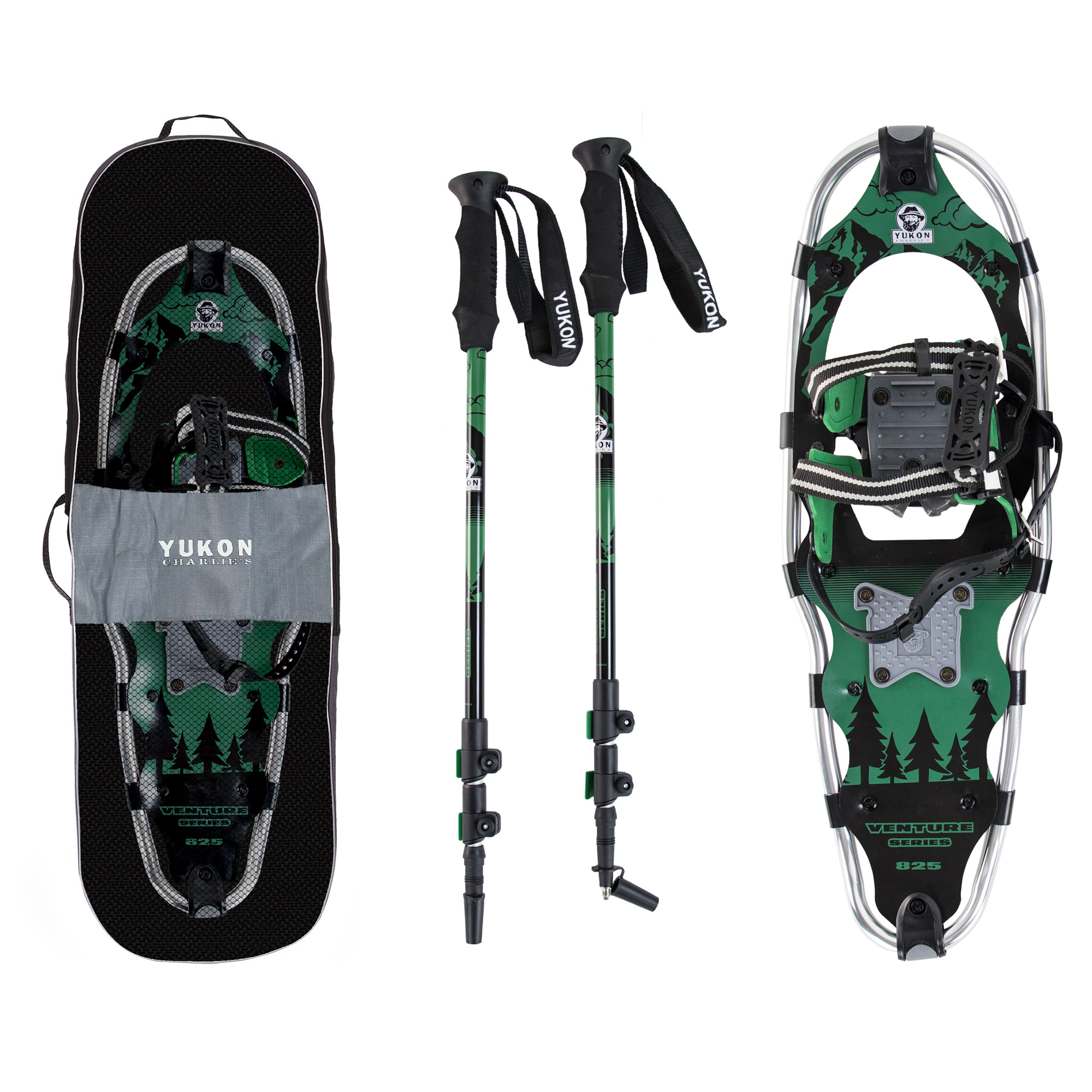 Yukon Charlie's Advanced 9x30 Inch Men's Snowshoe Kit with Aluminum Poles & Bag