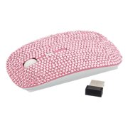 Optical Wireless Mouse - Crystal Case Rhinestone Bling USB Slimline Flat Computer Laptop Mouse (Pink)