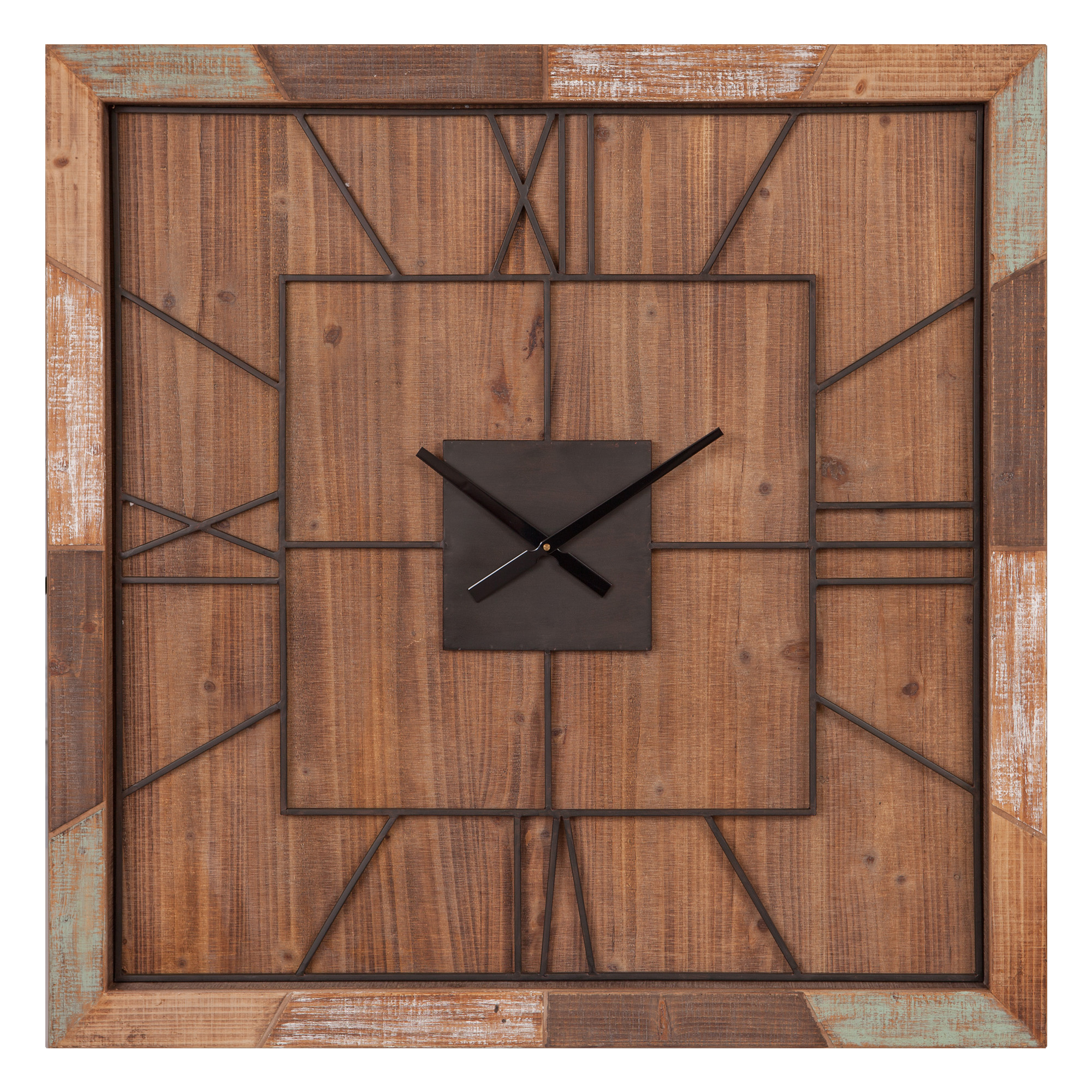 "40"" Oversized Square Distressed Wood Plank and Metal Square Wall Clock"