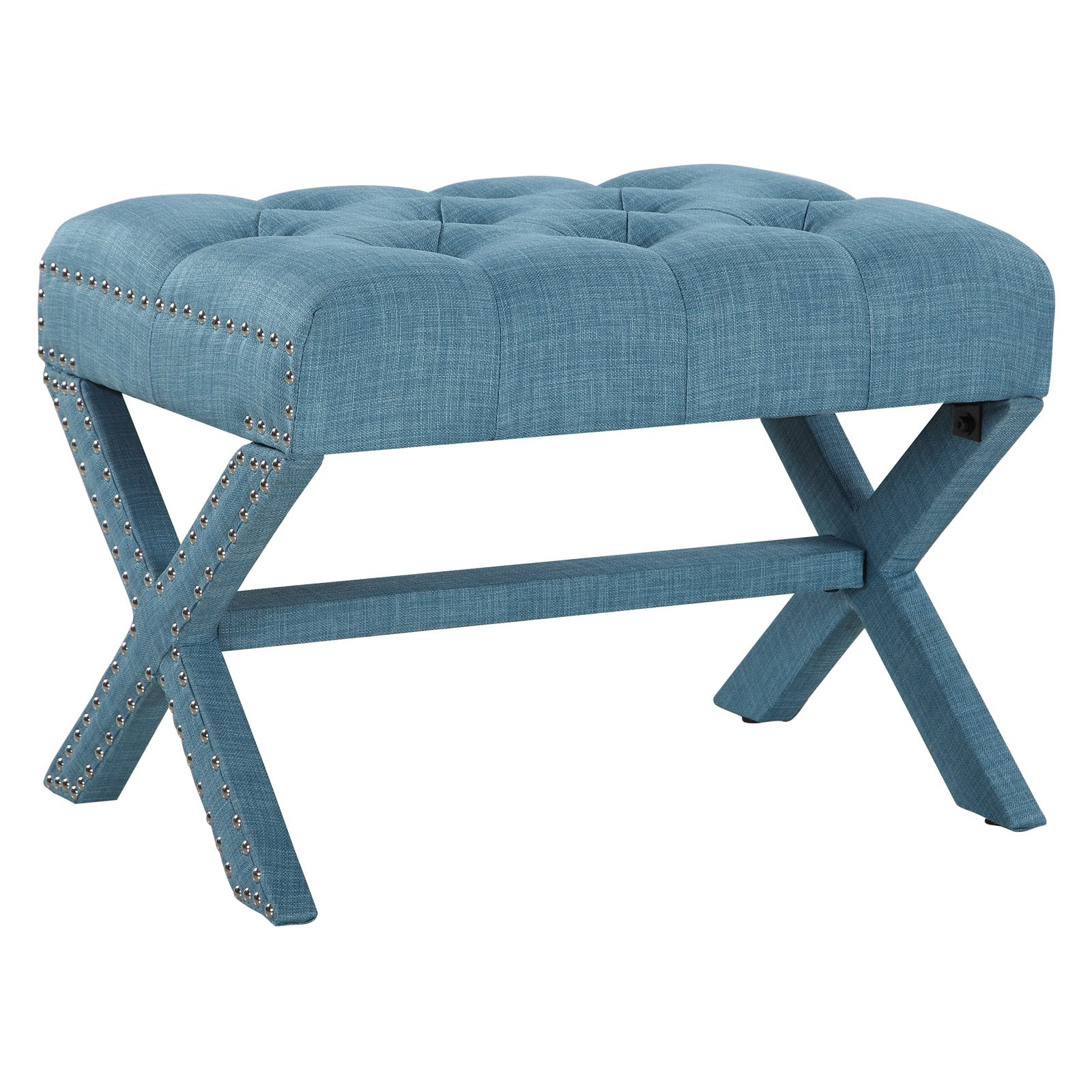 Chic Home Gaia Neo Traditional Tufted Linen Ottoman