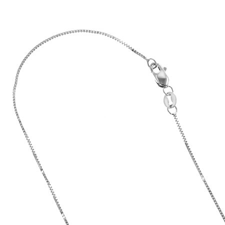 Solid 14K White Gold Classic Box Chain 0.5mm Wide Necklace with Lobster Claw Clasp (20 inches long) 14k White Gold Lobster Claw
