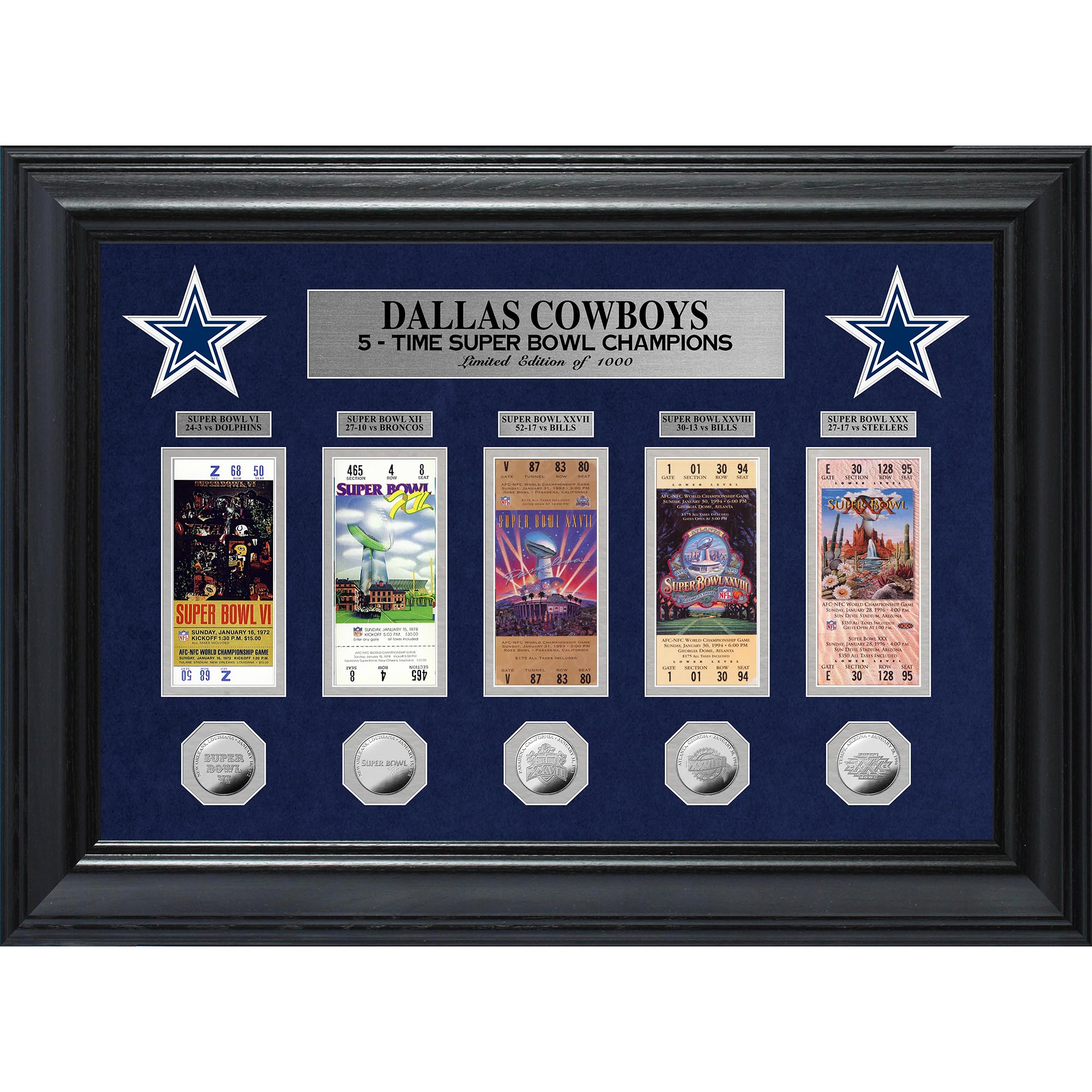 "Dallas Cowboys Highland Mint 27"" x 20"" Framed Super Bowl Ticket & Coin Collection - No Size"
