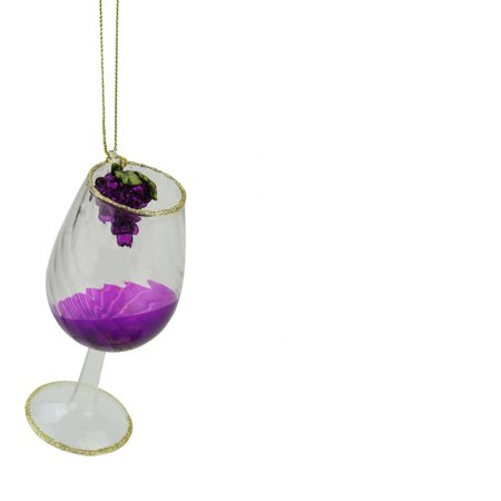 "4.25"" Tuscan Winery Purple Wine Glass Christmas Ornament"