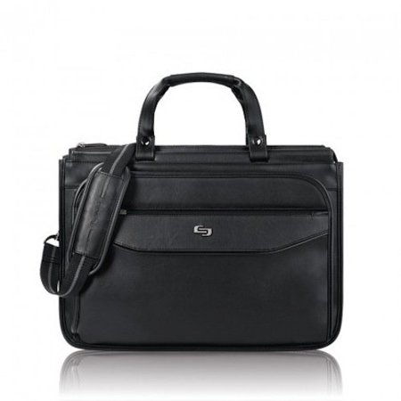 Triple Gusset Briefcase (Harrison 16 Inch Triple Compartment Laptop Briefcase, Black, Fully padded 15.6