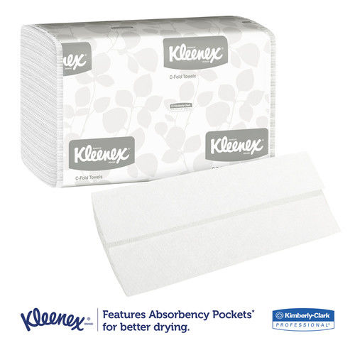 Kleenex C-Fold White Paper Towels, 150/Pack, 16 Packs/Case - KCC01500