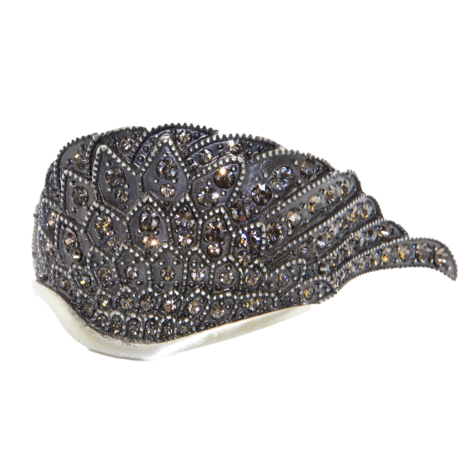 Religion Women's Jeweled Feather Cuff Bracelet One Size Silver