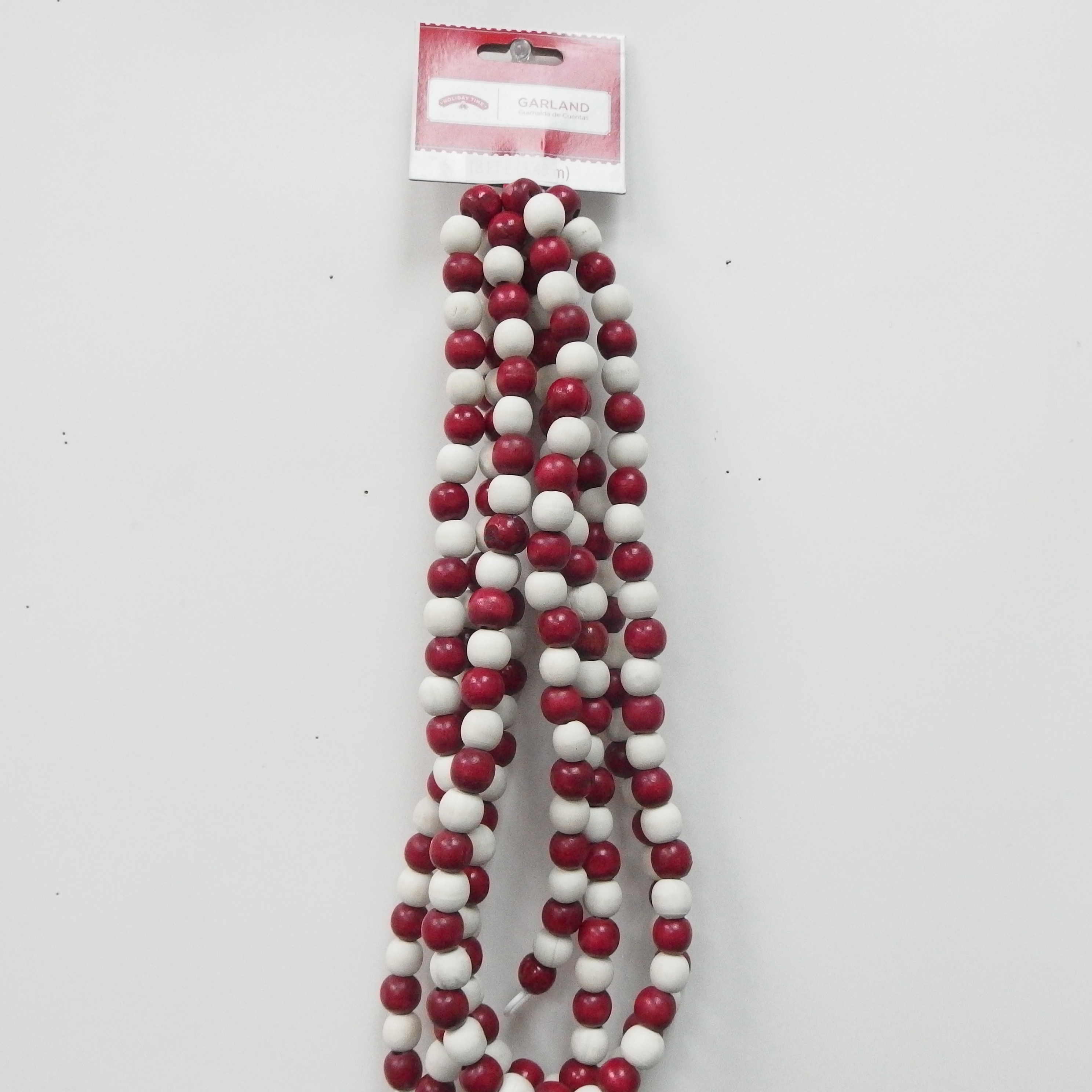 Holiday Time 12feet Red White Wood Beads Garland Walmart Com Walmart Com