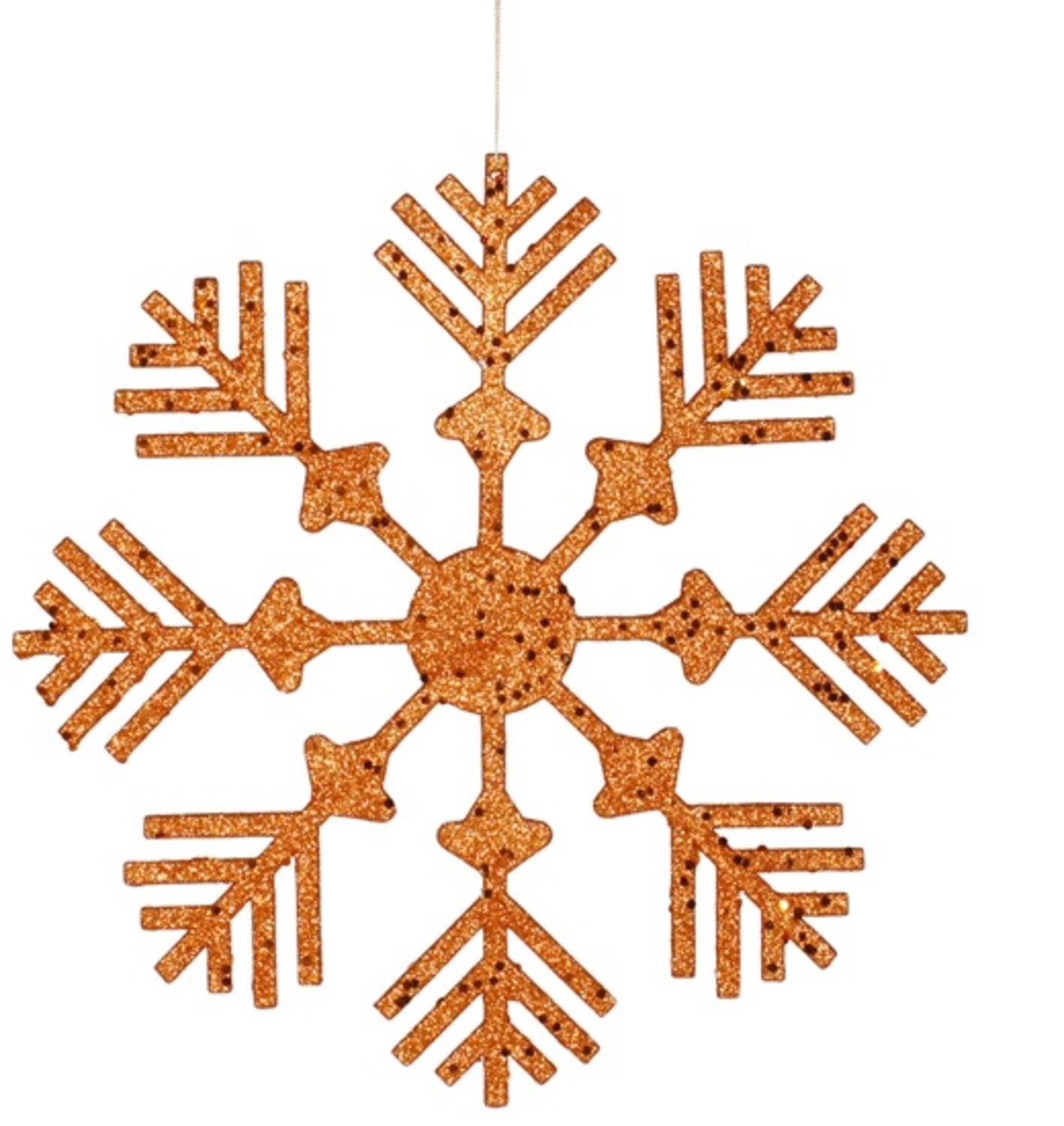 Burnt Orange Glitter Drenched Snowflake Christmas Ornament 12""