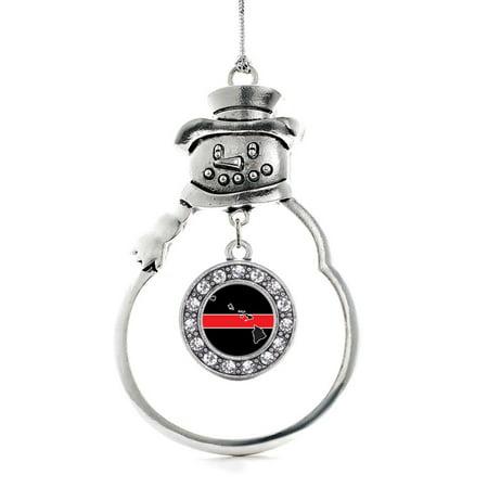 - Hawaii Thin Red Line Circle Snowman Holiday Ornament