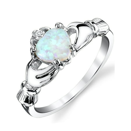 Sterling Silver 925 Irish Claddagh Friendship & Love Ring with Light Blue Simulated Opal Heart