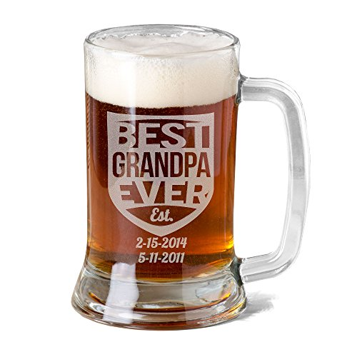 16 Oz Grandpa Mug Personalized Glass Beer Mug Stein Gift for Grandfather Fathers Day Engraved with Est. Kids Birth Dates Etched Papa Grandpa