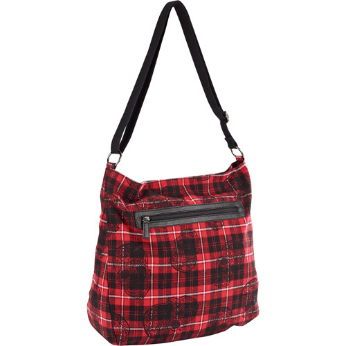 Women's Red Plaid and Skull Print Crossbody Handbag