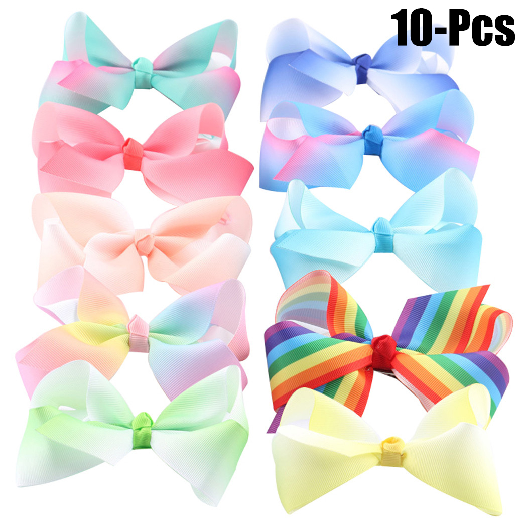 Coxeer 10Pcs Colorful Baby Hair Bows Fashionable Lovely Bowknot Ribbon Bow Hair Clip Hair Bow Set Hair Accessories Birthday Gift for Kids Girls Women