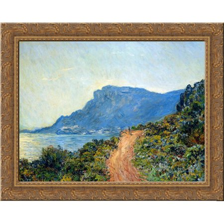The Corniche of Monaco 24x20 Gold Ornate Wood Framed Canvas Art by Monet, Claude