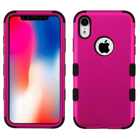 - Apple iPhone XR (6.1 inch) (2018 Model) Phone Case Tuff Hybrid Shockproof Impact Rubber Dual Layer Soft Protective Hard Case Cover Logo Hole Titanium Pink Black Phone Case for Apple iPhone Xr (6.1