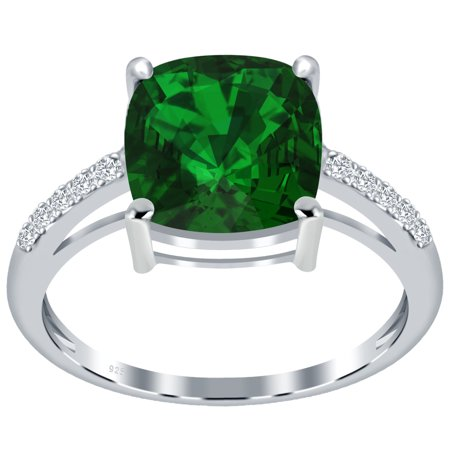 3.31 Ctw Lab Created Cushion Cut Green Created Emerald Ring, May Birthstone Prong 925 Sterling Silver Ring, Best Gift For