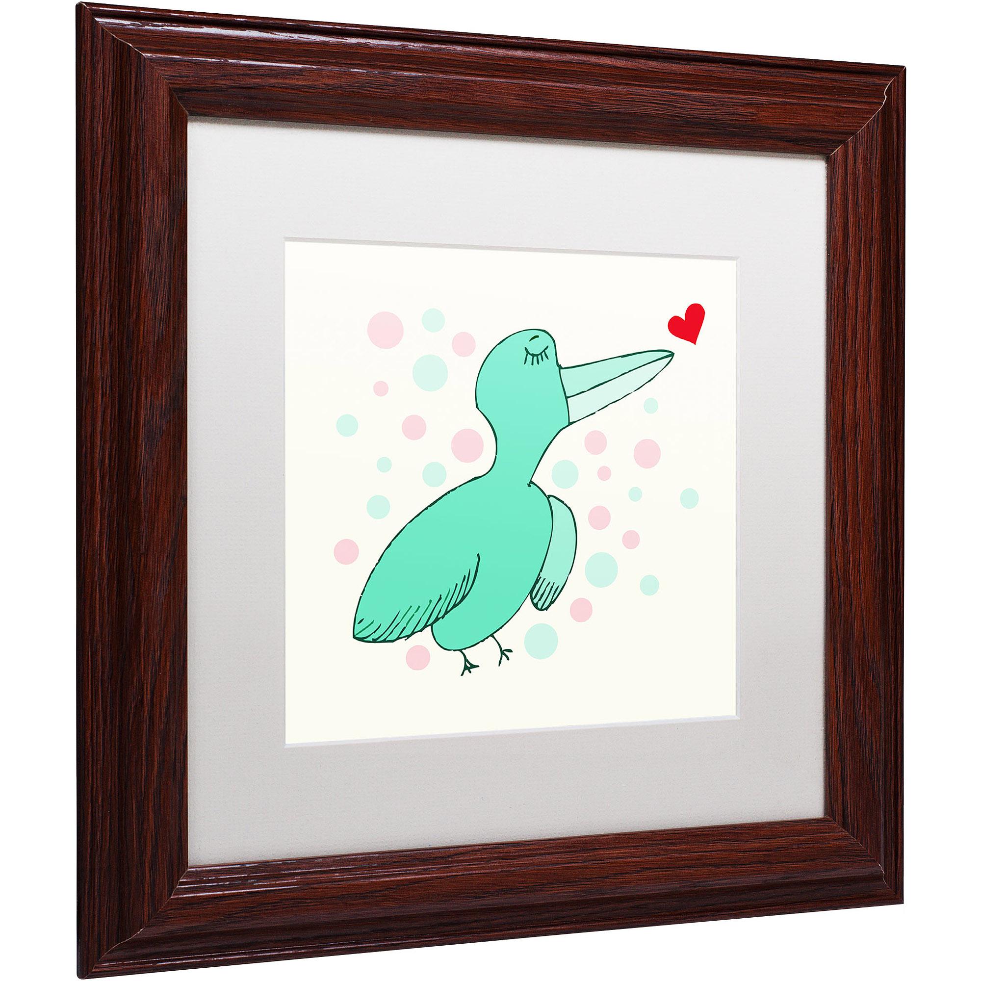 "Trademark Fine Art ""Dreamy Love Bird"" Canvas Art by Carla Martell, White Matte, Wood Frame"