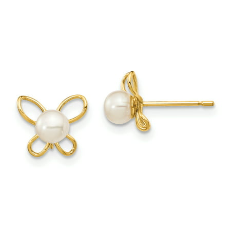 14K Yellow Gold Plated Madi K 4-5mm White Button Fw Cultured Pearl Butterflies Post Stud Earrings
