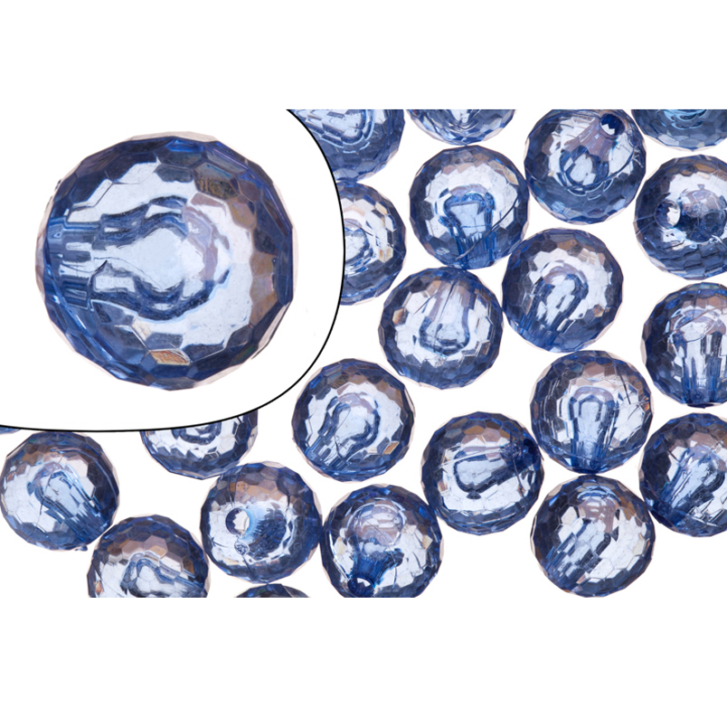 Acrylic Beads, Faceted Round, Clear Royal Blue, Half-Drilled, 12mm Sold per pkg of 100G