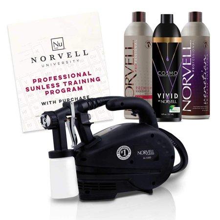 Norvell Sunless Kit - M1000 Mobile HVLP Spray Tan Airbrush Machine + 8 oz Tanning Solutions in Ultra Vivid 'Cosmo', Venetian and Dark + Norvell Training Program (Retail Value (The Best Spray Tan Machine)
