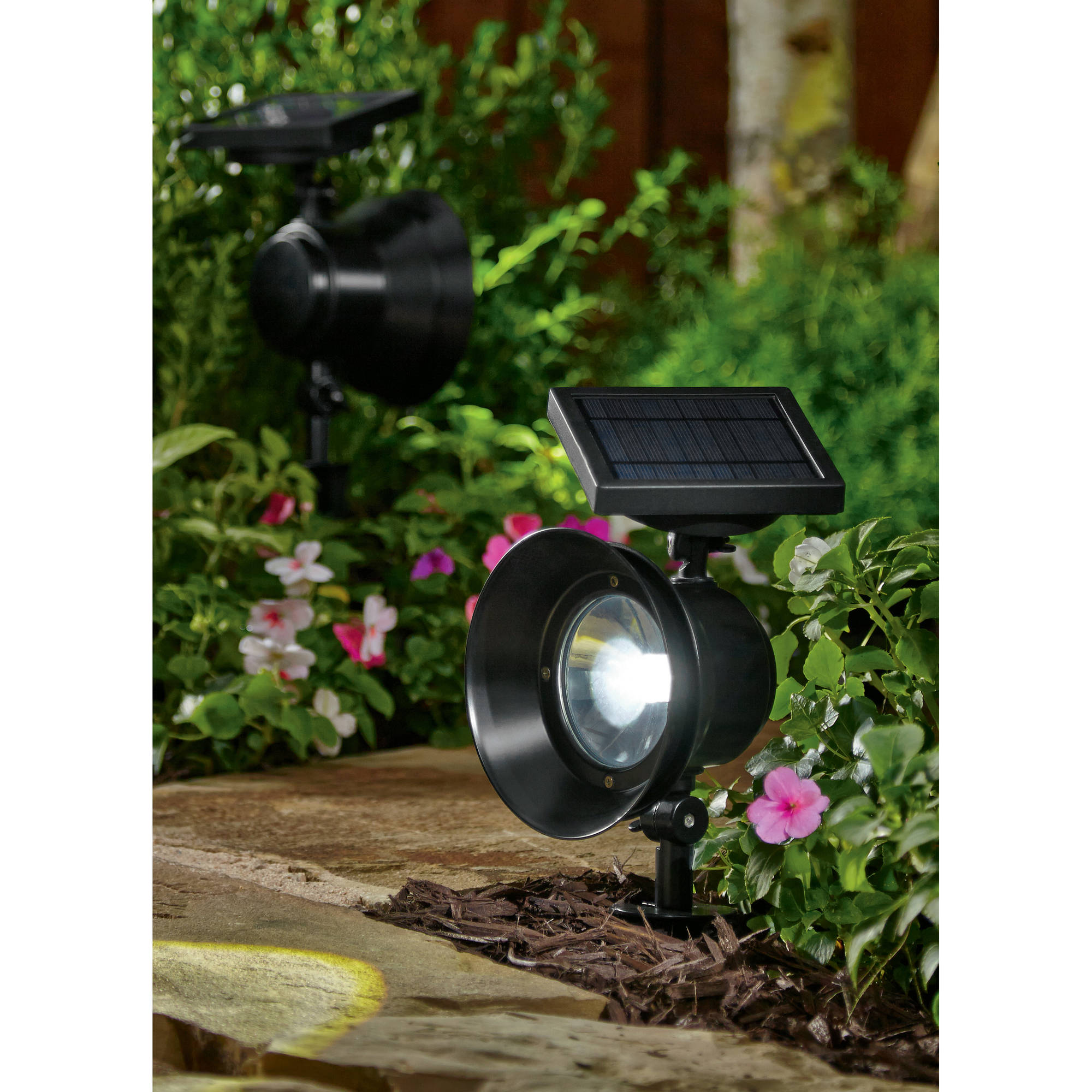 Mainstays 4-Piece Solar-Powered Adjustable Metal Spotlight Set