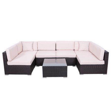 Palm Springs Outdoor 7 Pc Rattan Sectional Sofa Set W