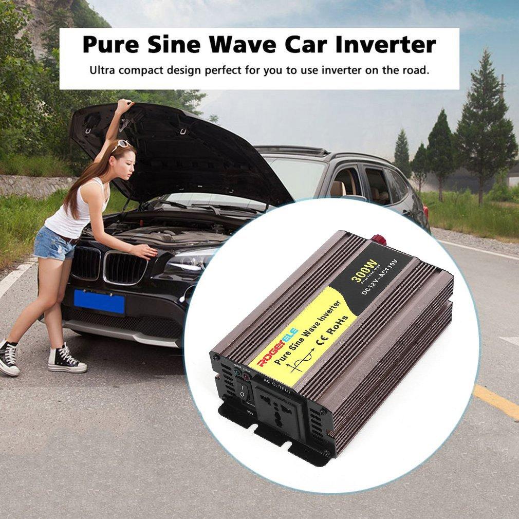 OUTAD High Conversion USB Car Inverter 500W DC12V To AC110V Pure Sine Wave Inverter, gold color