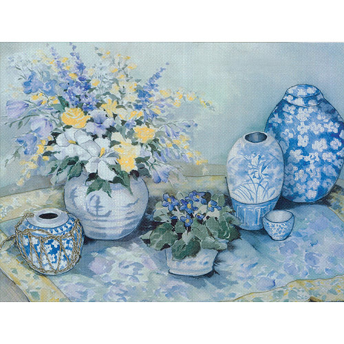 "Blue Delphinium Embellished Cross Stitch Kit, 16"" x 12"", 14-count"