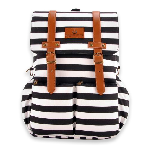 Kaydee Baby Unisex Canvas Diaper Tote Backpack Bag with Stroller Straps and Changing Pad - For Men and Women (White and Black Stripe)