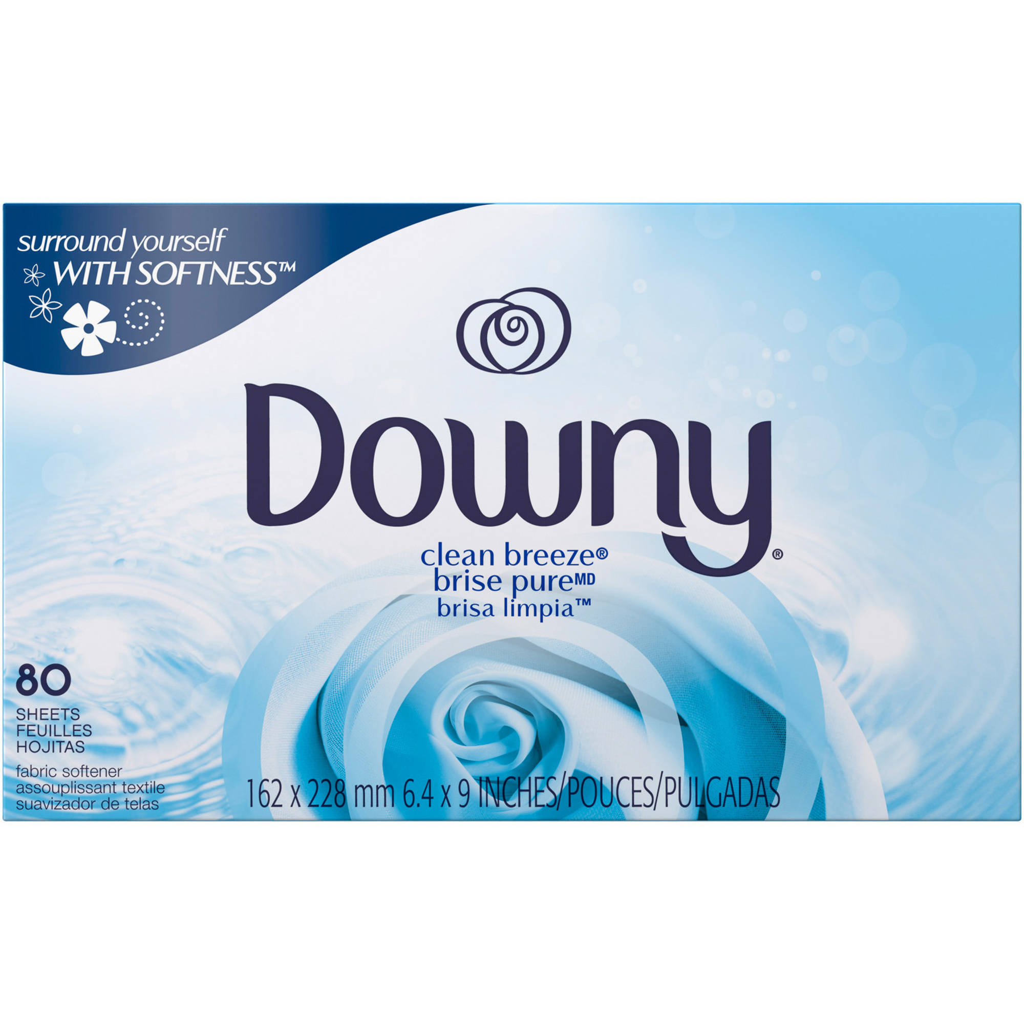 Downy Clean Breeze Fabric Softener Dryer Sheets, 80 sheets