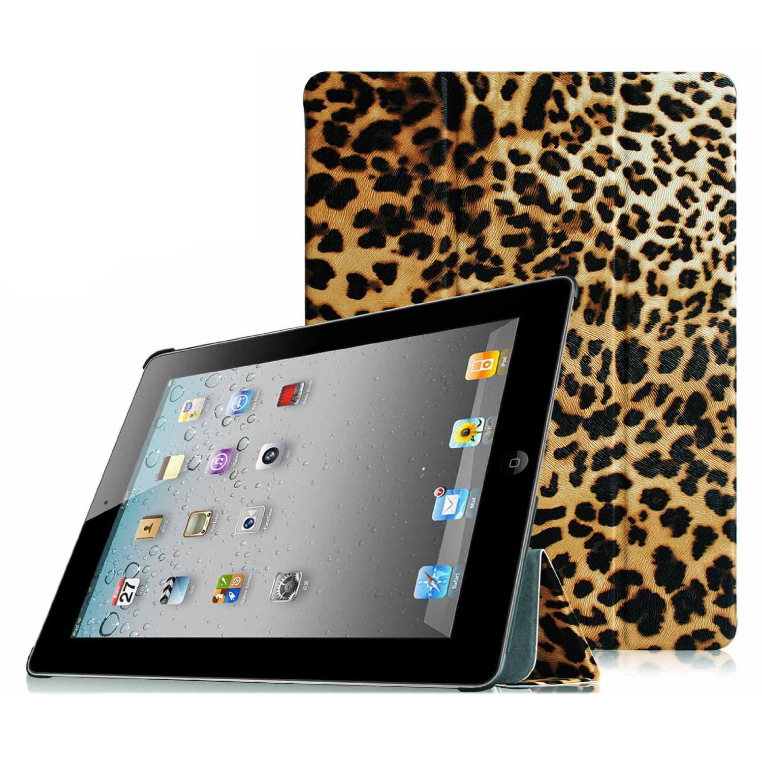 Fintie SmartShell Case for Apple iPad 4th Generation with Retina Display, iPad 3 & iPad 2, Leopard Brown
