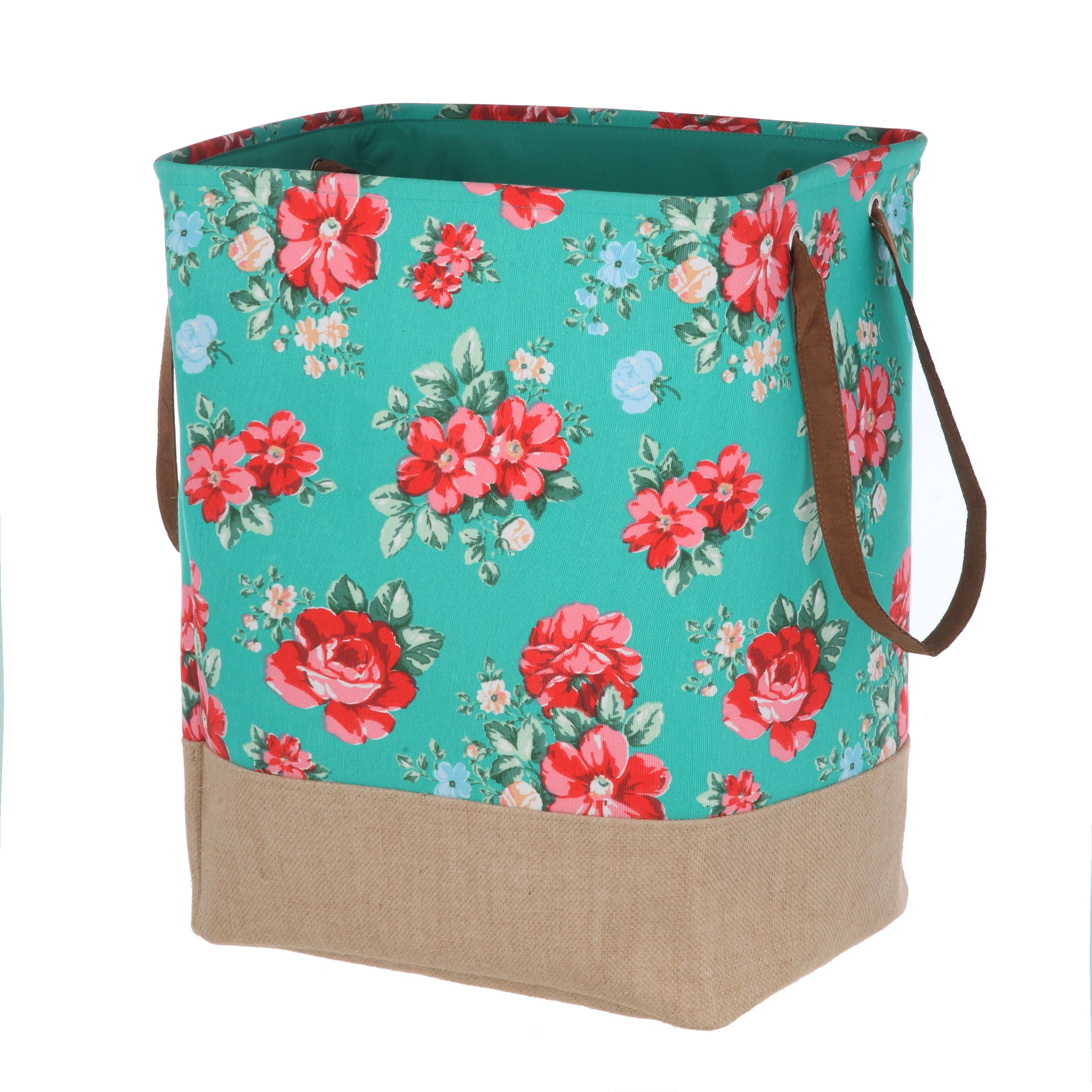 Pioneer Woman Rectangle Canvas Hamper - Teal Floral