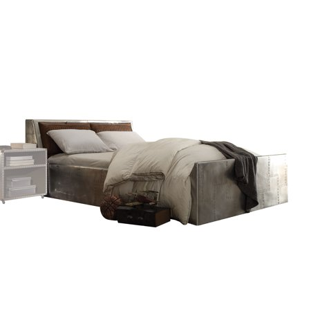 Acme Furniture Brancaster Storage Queen Bed, Retro Brown Top Grain Leather & - Aluminum Front Bed
