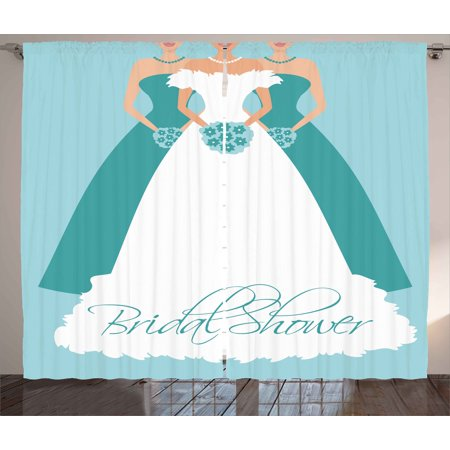 Bridal Shower Decorations Curtains 2 Panels Set, Bride with her Bridemaids Flowers Party Artwork, Window Drapes for Living Room Bedroom, 108W X 84L Inches, Turquoise Blue and White, by Ambesonne