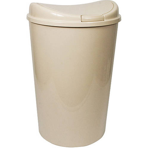 Hefty D-Shape Touch-Lid 13.8-Gallon Trash Can, Tan