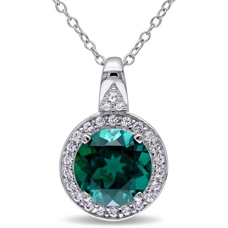 Tangelo 3-1/2 Carat T.G.W. Created Emerald and Created White Sapphire Sterling Silver Round Halo Pendant, 18