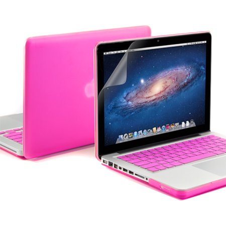 GMYLE 3 in 1 Bundle, Hard Case Frosted for Macbook Pro 13  - With Silicone Rose Red Keyboard Cover - Screen Protector (not fit for 13 Macbook Pro