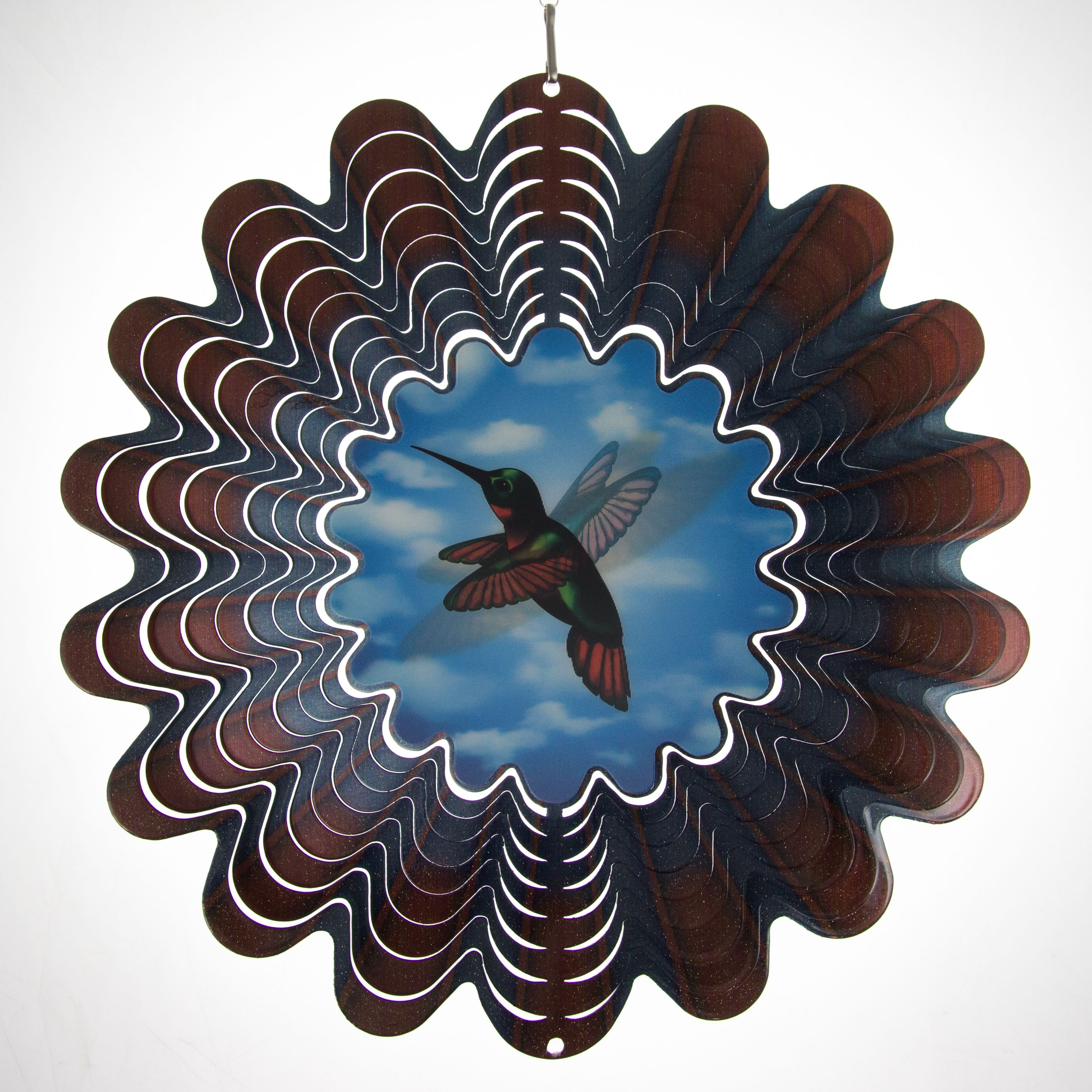 Iron Stop Holographic Animated Hummingbird Hanging Metal Wind Spinner Outdoor Patio Decor