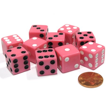 Koplow Games Set of 10 D6 16mm Dice, Inversed Pips- 5 Pink w White Pip and 5 Pink w Black Pip #01955](Pink Dice For Car)